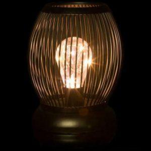LED Stand Leuchte Flammen Effekt schwarz gold mit Netzstecker 44cm hoch
